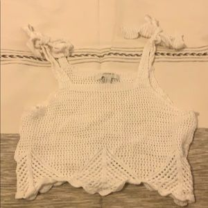 White knitted beachy crop top